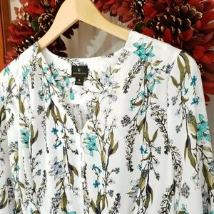 Worthington Floral Ruched Waist Blouse
